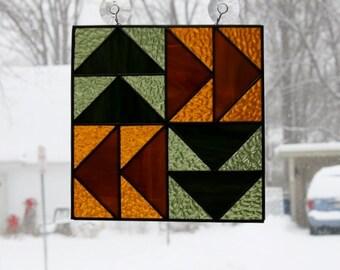 Stained Glass Suncatcher Dutchman's Puzzle Quilt Block