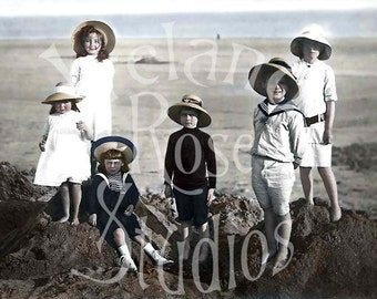 The New Kids On The Beach-French Postcard- Digital Image Download