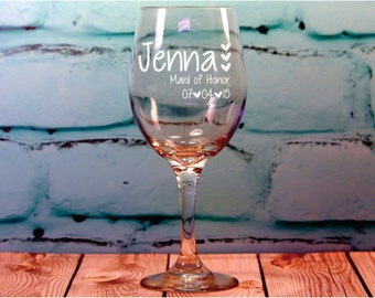 9 Custom Engraved Bridesmaid Wine Glasses - original bridesmaid gift - engraved gift - wedding favor - bridal party gift - custom bridesmaid