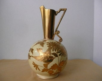 REDUCED - Rubian Art Pottery England Art Nouveau Yellow and Gold Pitcher with Gold Spout, Handle, and Gold Relief Bird, Leaves and Flowers