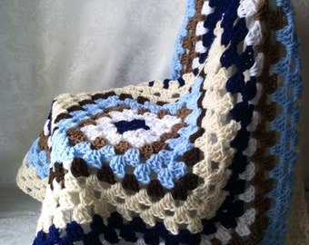 Crochet Baby Blanket, Baby Blanket for Boys, Granny Square, Tan and Blue Blanket