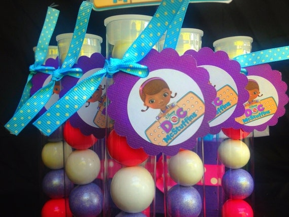 Doc McStuffins gumball tubes  for birthday or any themed occasion