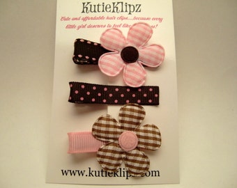 SALE - INTRODUCTORY - NEW...Pink and Brown Flower Collection..Hair Clips Set of 3, Hairclips, Hairbow, Hair Accessory