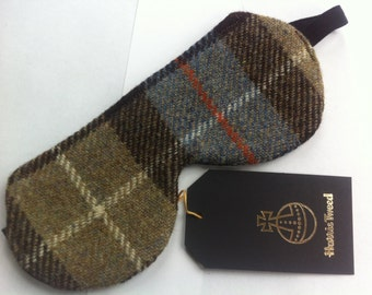 Harris tweed eye mask made in Scotland woman gift man gift travel accessory