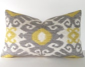 Both Sides - Ikat Decorative Throw Pillow Cover - Lumbar Pillow - Dove Grey - Gold - Yellow - Ivory