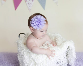 Lavender baby headband, purple baby headband,  infant headband, newborn headband, lavender chiffon flower headband, photo prop