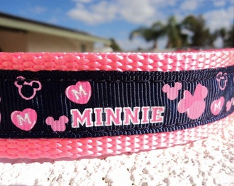 """Dog Collar Minnie Love 3/4"""" or 1"""" wide Quick Release buckle adjustable - Martingale collar style is cost upgrade- S-XXL"""