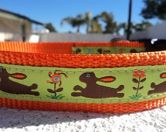 """Dog Collar 3/4"""" or 1"""" width Quick Release Flower Bunny - upgrade to martingale option"""
