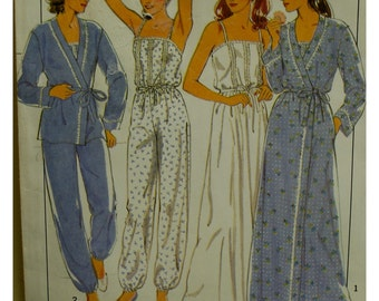 "Shoestring Strap Nightgown Pattern, Jumpsuit Sleepwear, Wrap Robe, Lace Trim, Vintage 1980s, Style No. 3588 Size 8 (Bust 31.5"" 80cm)"