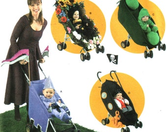 Pea in a Pod Baby Costume Pattern, Pirate, Princess Baby, Bumble Bee Toddler Decorated Stroller Simplicity 3612 UNCUT Size 1/2 1 2 3 4