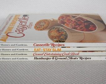 Better Homes and Gardens Set of 4 Vintage Cookbooks Entertaining, Ground Meats, Casseroles, Stay Slim   CB317