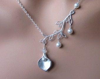 Silver Calla Lily Pearl Necklace Womens Jewelry Wedding Bride Maid of Honor Gift