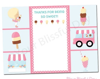 PRINTABLE Girl Ice Cream Party Thank You Cards #534