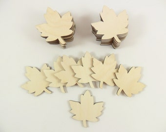 """25 Wood Maple Leaves 2"""" H x 1 7/8"""" W Unfinished Wood Maple Leaf Leaves Laser Cutouts Shapes"""