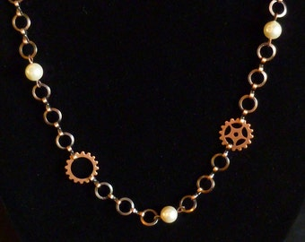 Steampunk necklace copper gears sprockets and pearls N55