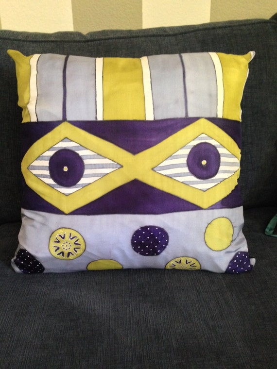DIAMONDS AND STRIPES -Hand Painted Silk Decorative Pillow