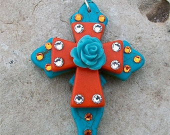 Cross Pendant Turquoise Blue Stone Celtic Curvy Cross with Orange Stone Cross, Pale Blue Acrylic Rose and Bling