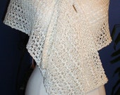 Hand Knit Stole, Simply White knitted Lace Scarf, Bridal Stole, Fashion Fiber Art, Wool / Cotton Blend, Creamy Off-White Lace Scarf