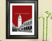 Stanford University Skyline Poster - Stanford California City Skyline - Art Print - 8 x 10 Choose Your Color