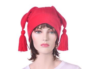 Red Jester Hat with Tassels Traditional Style Mens Womens Fleece Hat Mardi Gras Carnivale