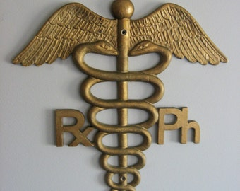 Vintage Medical Caduceus Asclepius sign - Pharmacy