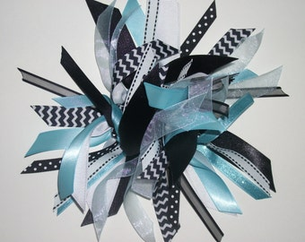 Ribbon Ponytail Streamer in Light Blue, Black, and White