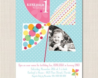 PINWHEEL PARTY Birthday Invitation - DEPOSIT
