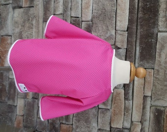 4/5 Kid Art Smock - Size 4T 5T - Pink Polkadot - Waterproof and Long Sleeved