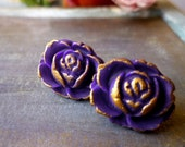 Purple Post Earrings - Purple and Gold Stud Earrings - Bridesmaids Earrings - Cabbage Roses