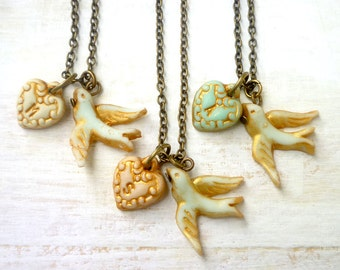 Tiny Heart and Bird letter necklace