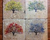 Set of four original handpainted fall stone coasters, four seasons, unique.