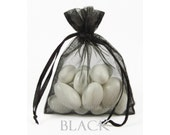 30 Black Organza Bags, 5 x 8 Inch Sheer Fabric Black Favor Bags