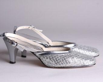 Size 5 - 60s Silver Slingback Heels - Vintage Silver Glitter Heels - Cinderella Shoes - Angel Fair