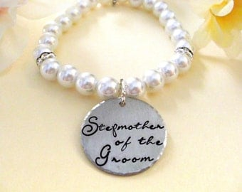 Stepmother of the Groom Pearl Bracelet, Bridal Bracelet, Stepmother Wedding Bracelet, Hand Stamped Bracelet