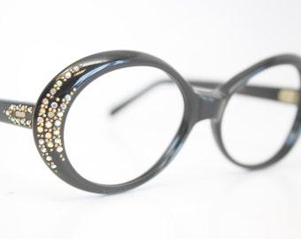 Unused Black Oval Rhinestone Cat Eye Glasses Cateye Frames Vintage Eyewear 1960s Eyeglasses New Old Stock