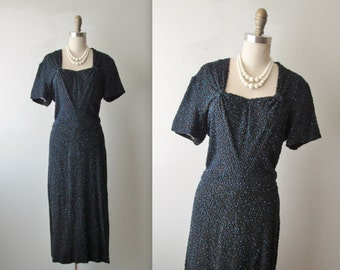 40's Beaded Rayon Dress // Vintage 1940's Heavily Beaded Black Rayon Cocktail Party Evening Dress L