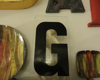 "Vintage Marquee Sign Letter ""G"": 10"" Clear & Black Acrylic Wall Hanging -- Industrial Gas Station Advertising Salvage"