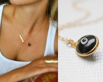 Evil Eye Charm, Evil Eye Necklace, Nazar Necklace, Turkish Jewelry, Good Luck, Good Fortune, Mal de Ojo, Protection, Black Evil Eye, Layered