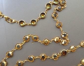 Vintage Swarovski crystal special effects golden coating, bezel set necklace. RARE.