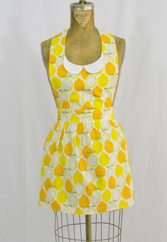 Womens Retro Gidget Full Apron Lemon Print