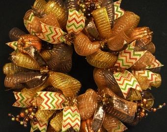 Fall Berry Pumpkin Wreath, Brown Copper Gold Choc, Copper Wreath, Deco Mesh Wreaths (1305)
