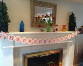 Happy first birthday banners, high chair banner, owl birthday, woodland party