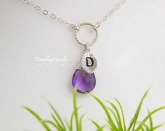 Custom Initial Necklace, February Birthstone Necklace, Monogram Charm, Gemstone Jewelry, Sister Necklace, Mothers Jewelry, Mothers Day Gift