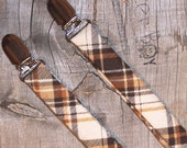Brown & Cream diagonal plaid little boy matching suspenders - photo prop, wedding, ring bearer, accessory