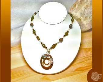 "25"" Necklace Earthtones Pyrite Twists Faceted TigerEye Imperial Jasper Donut Pendant w Wire-Wrapped Coils Bead Chain Gold Silver Mixed Metal"