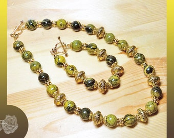 """20"""" Necklace 8"""" Bracelet Yellow Green Black Afghanistan Jasper Both Stunning Gold Pewter Fancy Spacers TierraCast Gold Pewter Toggle Clasps"""