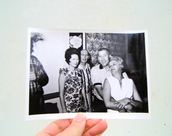 1950s Lets Have a Party Photo, Hawaiian Theme Mid Century Photo, Humorous Black and White Photo