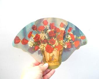 Vintage Tri-fold Advertising Fan, Mid Century Advertising Fan, Bouquet of Roses Paper Ephemera, Fold Out Fan