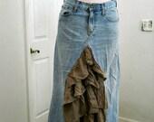 Ruffled mocha ballroom jean skirt tulle Renaissance Denim Couture fairy goddess mermaid belle bohémienne
