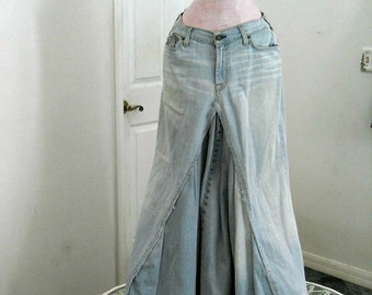 Seven for All Mankind  ballroom jean skirt Renaissance Denim Couture fairy goddess upcycled mermaid belle bohémienne